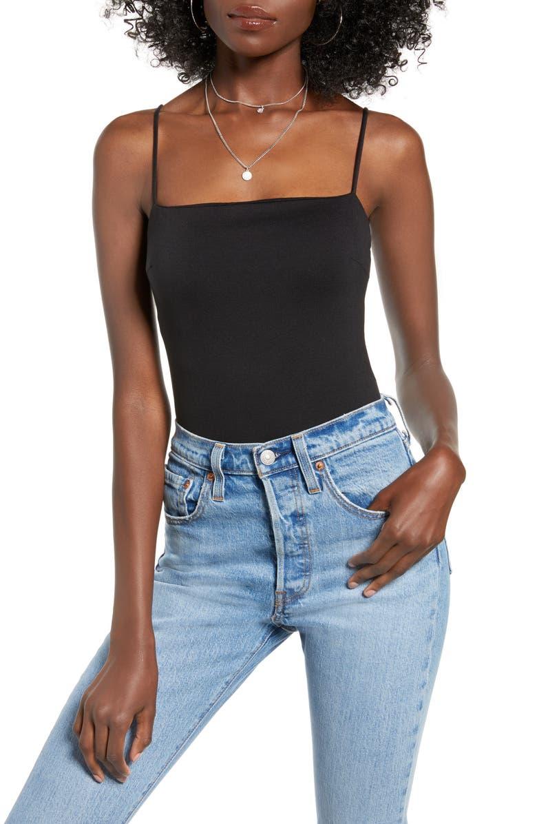 4SI3NNA Alexander Sleeveless Bodysuit, Main, color, BLACK