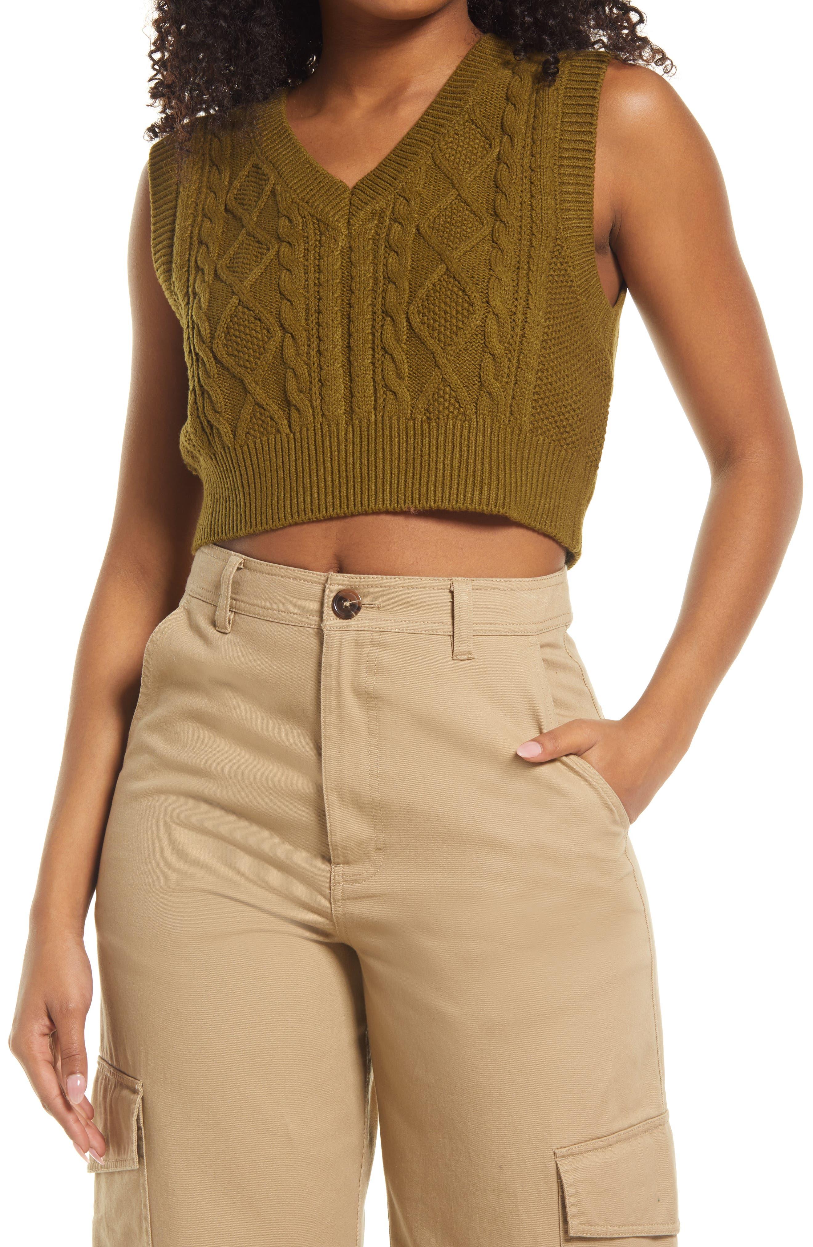 Cable Stitch Crop Vest