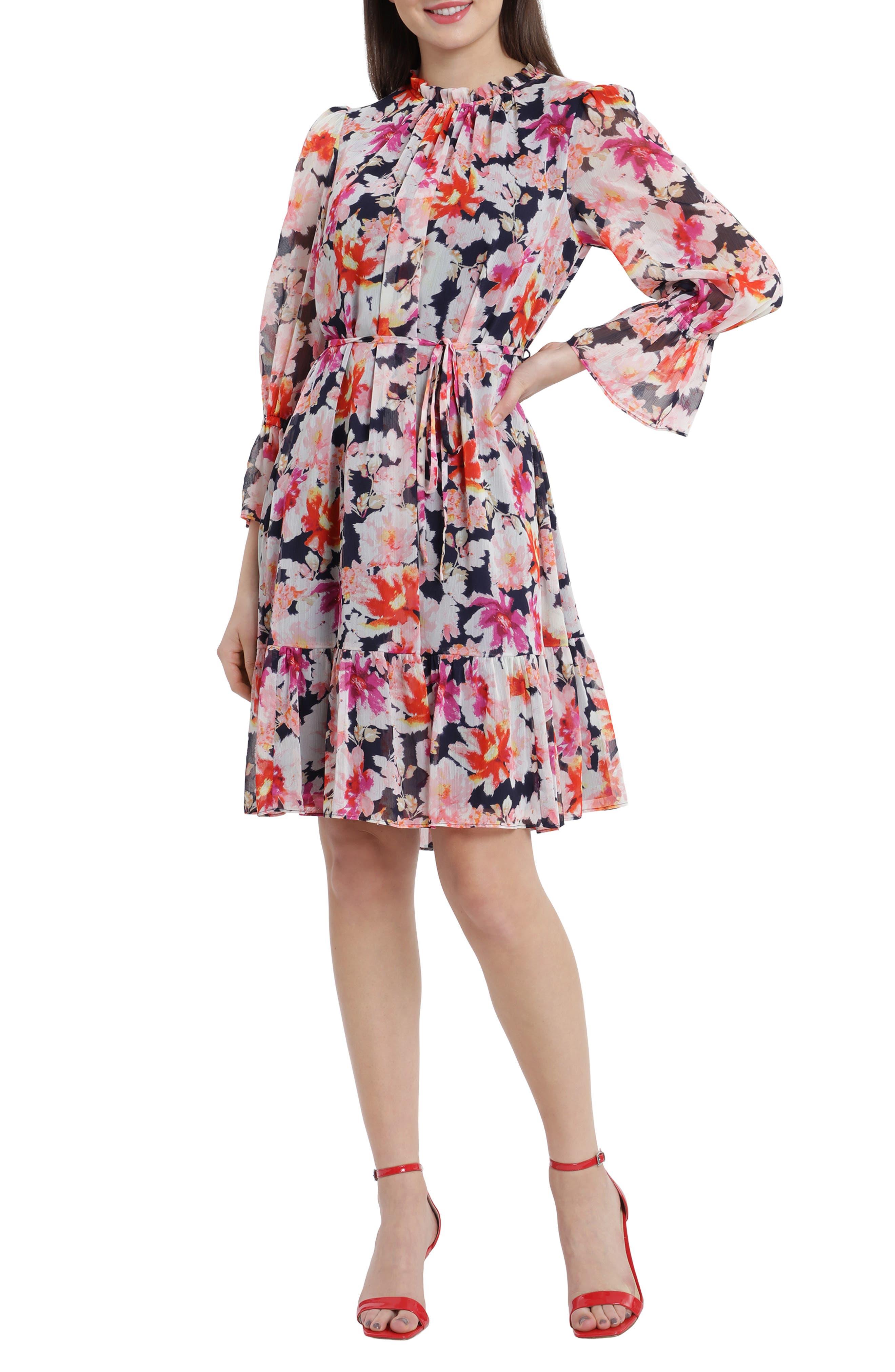 Floral Smocked Ruffle Long Sleeve Chiffon Dress