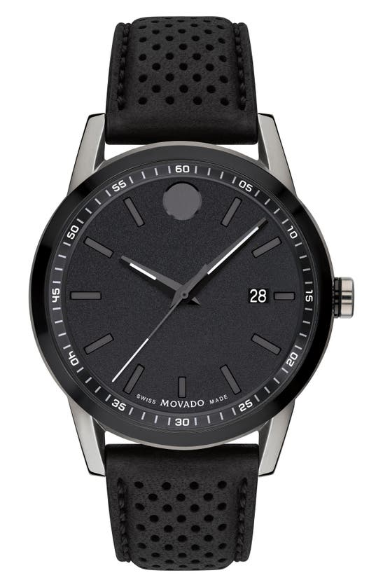 MOVADO MUSEUM SPORT LEATHER STRAP WATCH, 42MM