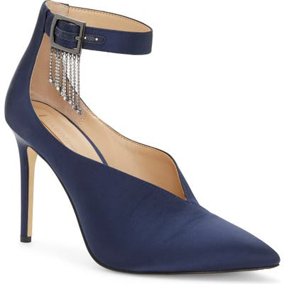Imagine By Vince Camuto Greer Crystal Chain Pointed Toe Pump- Blue