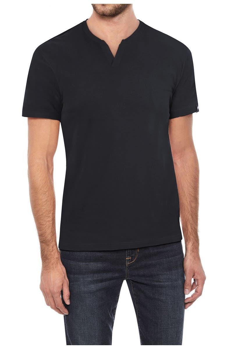 XRAY Split Neck T-Shirt, Main, color, BLACK