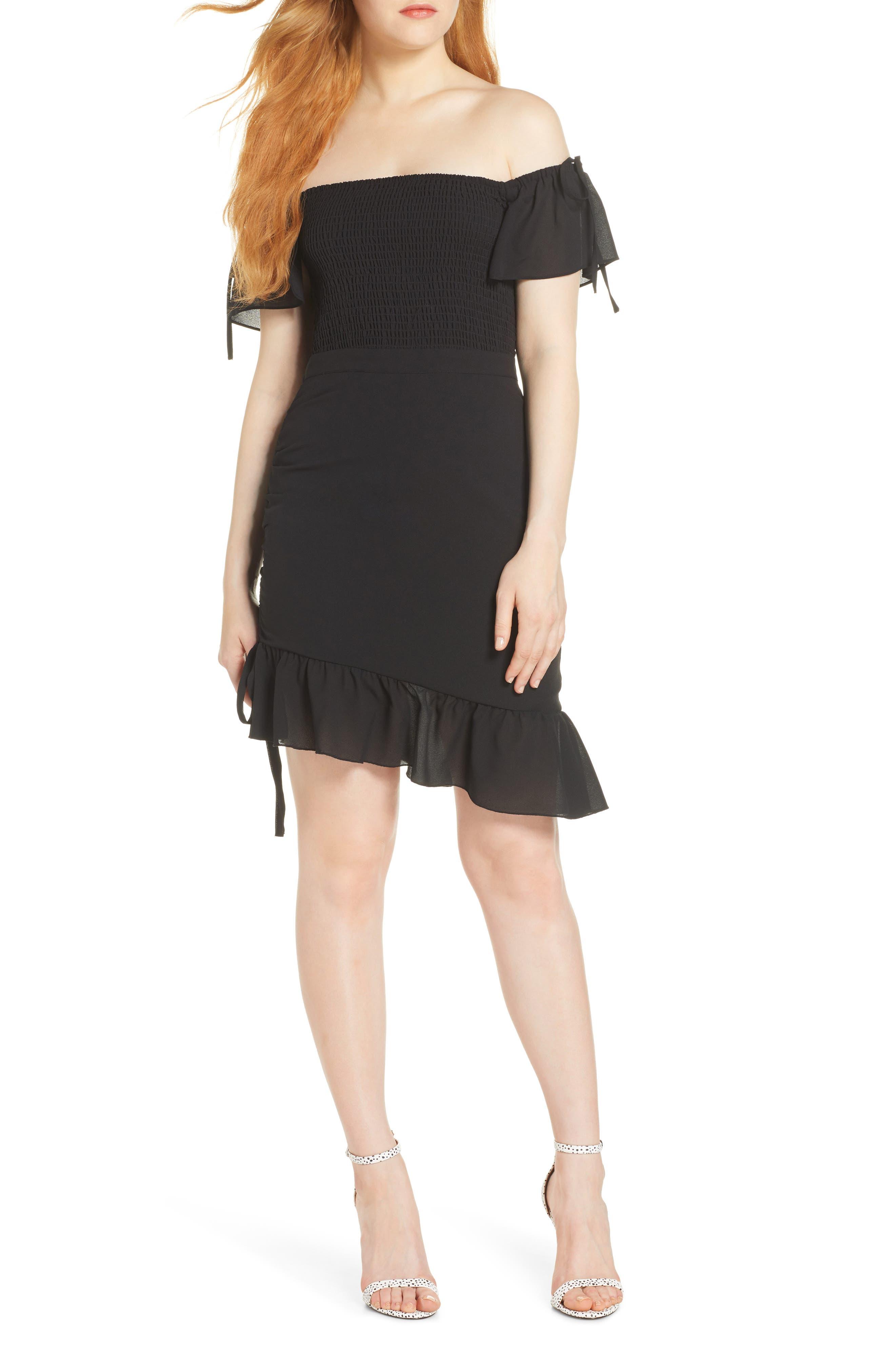 Ali & Jay Hot Tamale Off The Shoulder Georgette Minidress, Black