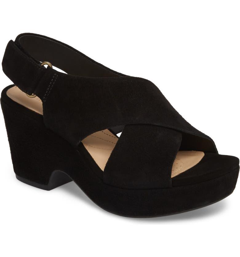 CLARKS<SUP>®</SUP> Maritsa Lara Slingback Sandal, Main, color, BLACK SUEDE