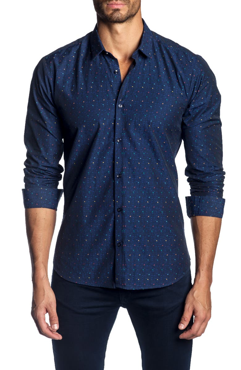 JARED LANG Slim Fit Jacquard Dot Sport Shirt, Main, color, 465