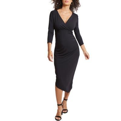 Ingrid & Isabel Asymmetrical Hem Midi Maternity/nursing Dress, Black