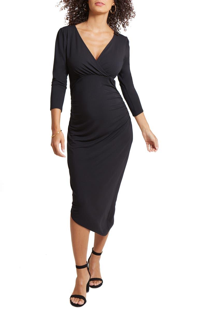 INGRID & ISABEL<SUP>®</SUP> Asymmetrical Hem Midi Maternity/Nursing Dress, Main, color, BLACK