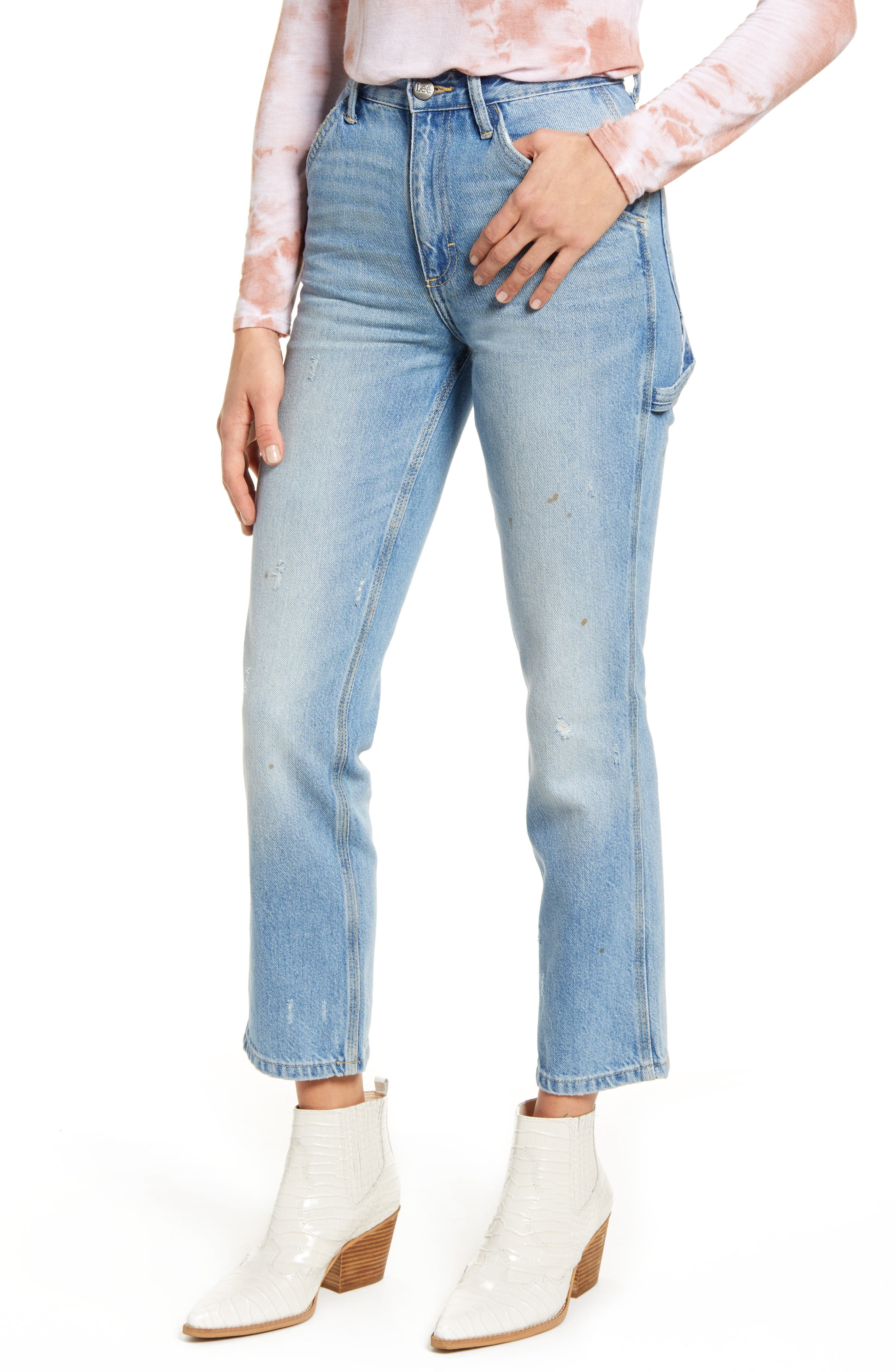 High Waist Dungaree Ankle Jeans