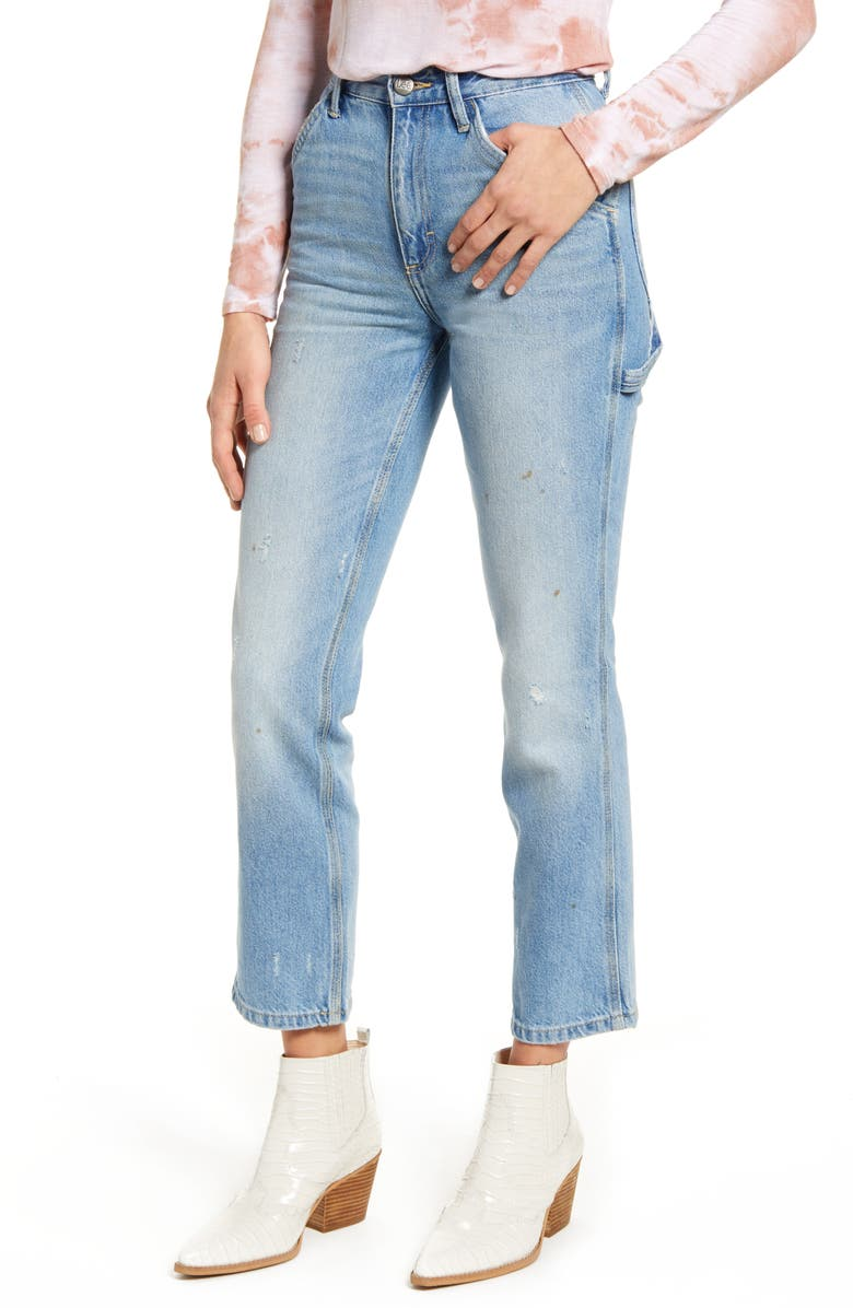 LEE High Waist Dungaree Ankle Jeans, Main, color, AUTHENTIC FADE