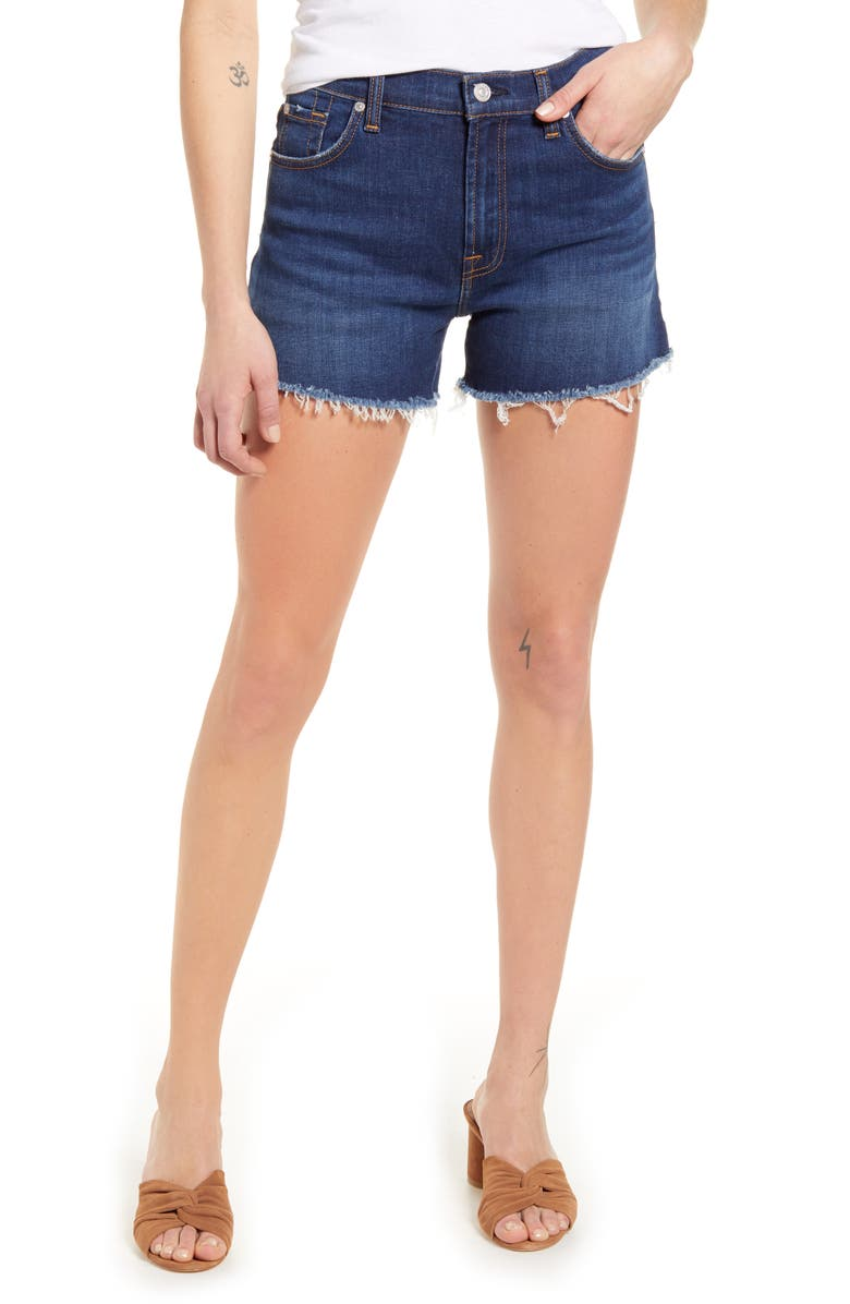 7 FOR ALL MANKIND<SUP>®</SUP> High Waist Cutoff Denim Shorts, Main, color, FLETCHER DRIVE