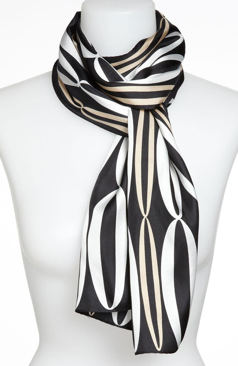 ECHO 'Graphic Ovals' Silk Scarf, Main, color, 001