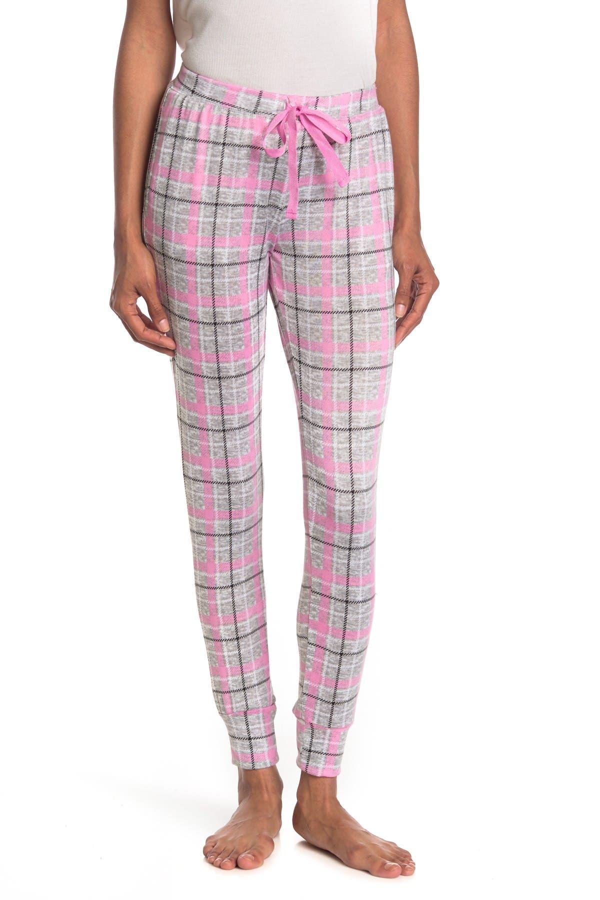 Image of PJ Couture Plaid Print Jogger Pajama Bottoms