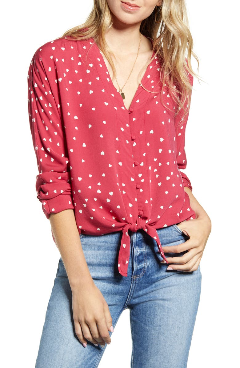 RAILS Sloane Long Sleeve Tie Front Blouse, Main, color, SCARLET AMOUR