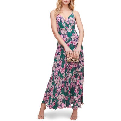 Astr The Label Floral Ruffle Detail Maxi Dress, Green