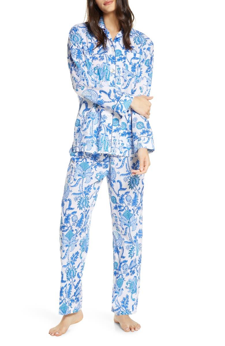 ROLLER RABBIT Amanda Floral Print Pajamas, Main, color, BLUE