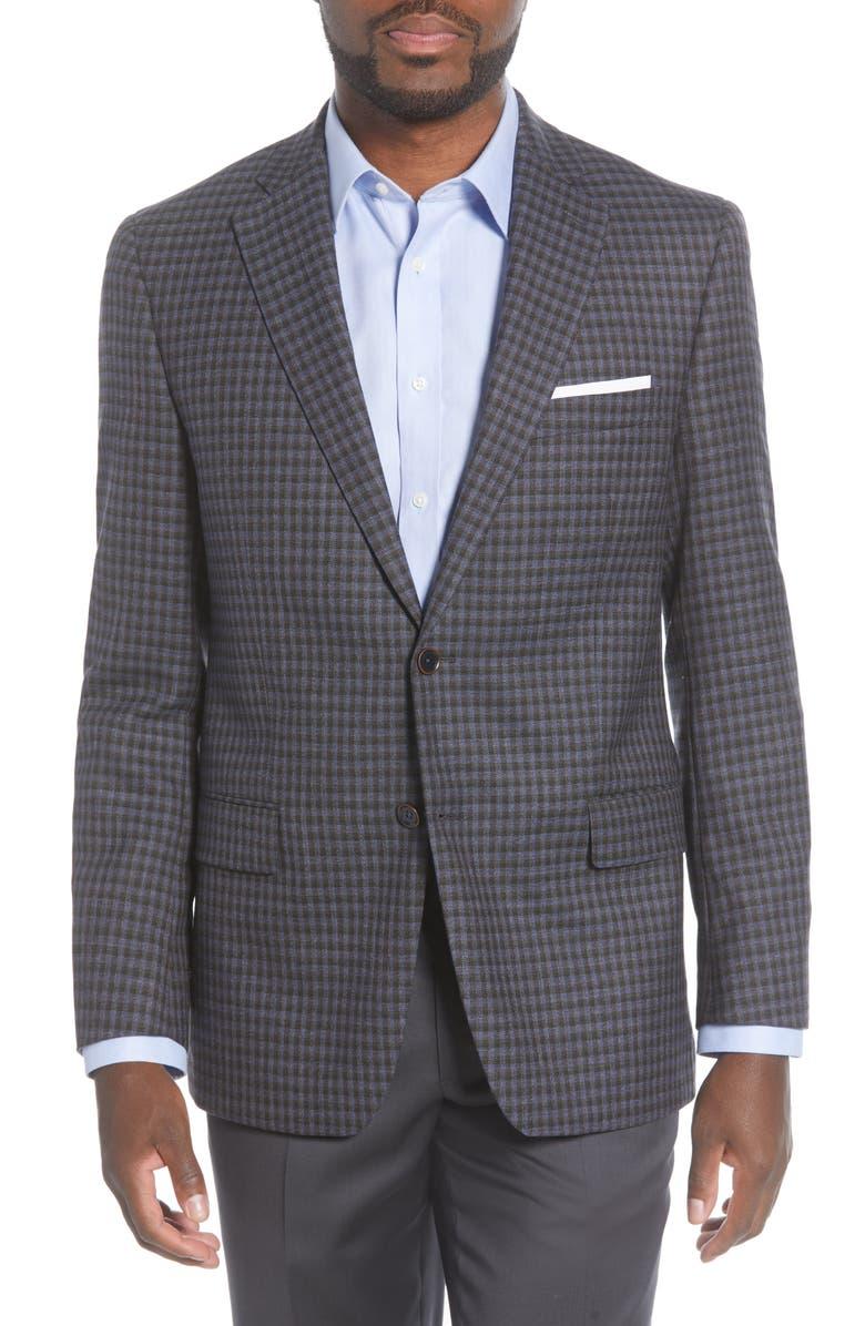 HART SCHAFFNER MARX Classic Fit Plaid Wool Sport Coat, Main, color, DARK BLUE