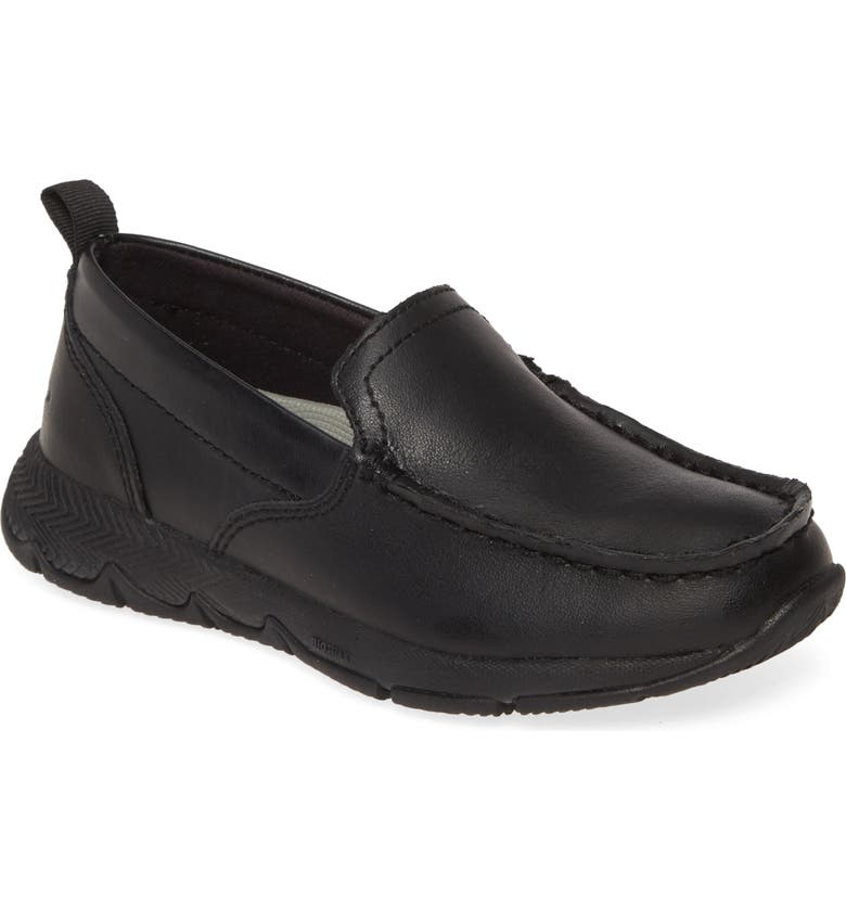 HUSH PUPPIES<SUP>®</SUP> School Moccasin Field Loafer, Main, color, BLACK