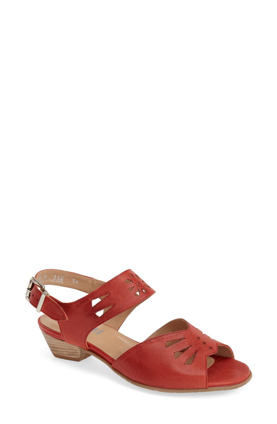 ,                             'V112' Perforated Leather Sandal,                             Main thumbnail 1, color,                             RED