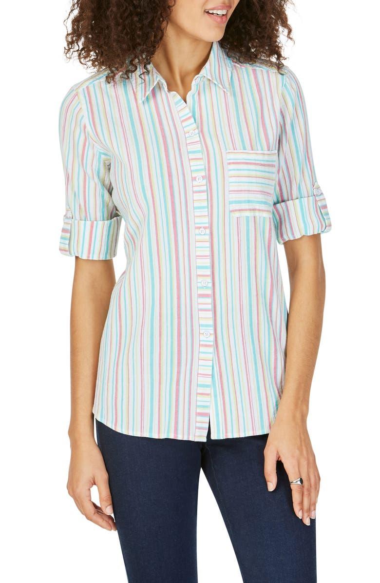 FOXCROFT Zen Crinkle Stripe Cross Back Cotton Blouse, Main, color, FLAMINGO