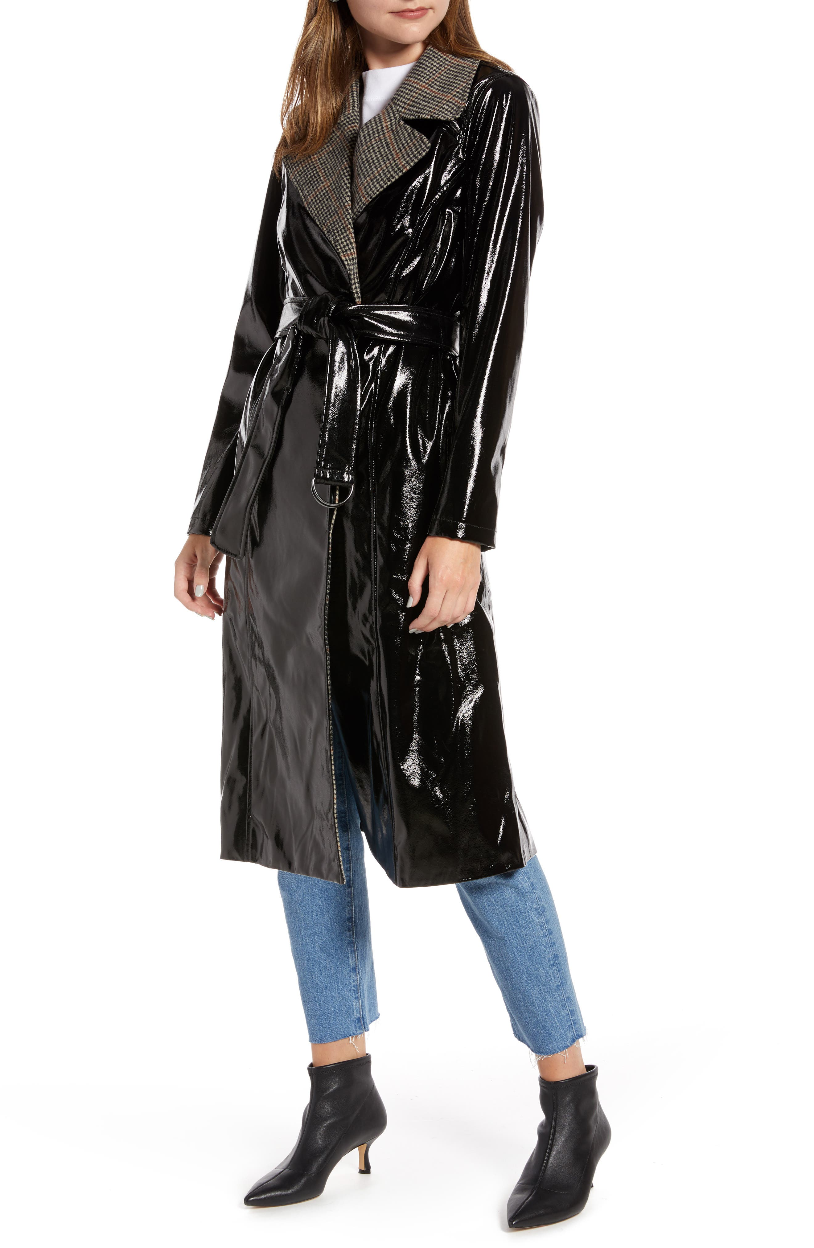 Something Navy Glossy Trench Coat (Nordstrom Exclusive)