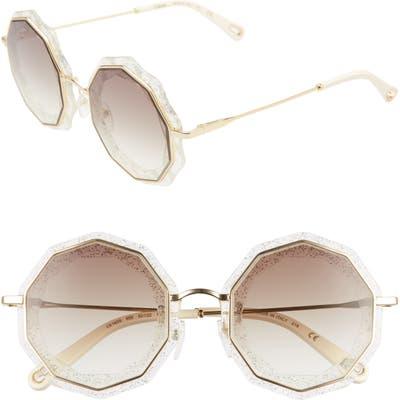 Chloe Caite 52Mm Round Sunglasses - Gold/ Crystal Glitter