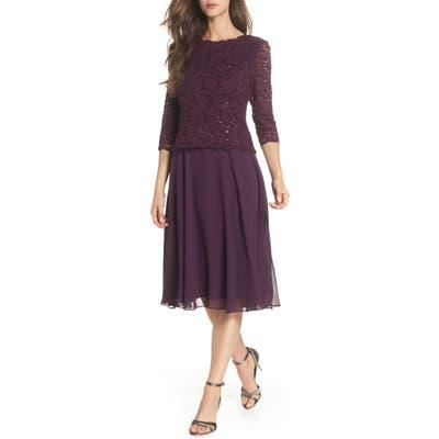 Petite Alex Evenings Mock Two-Piece Tea Length Dress, Purple