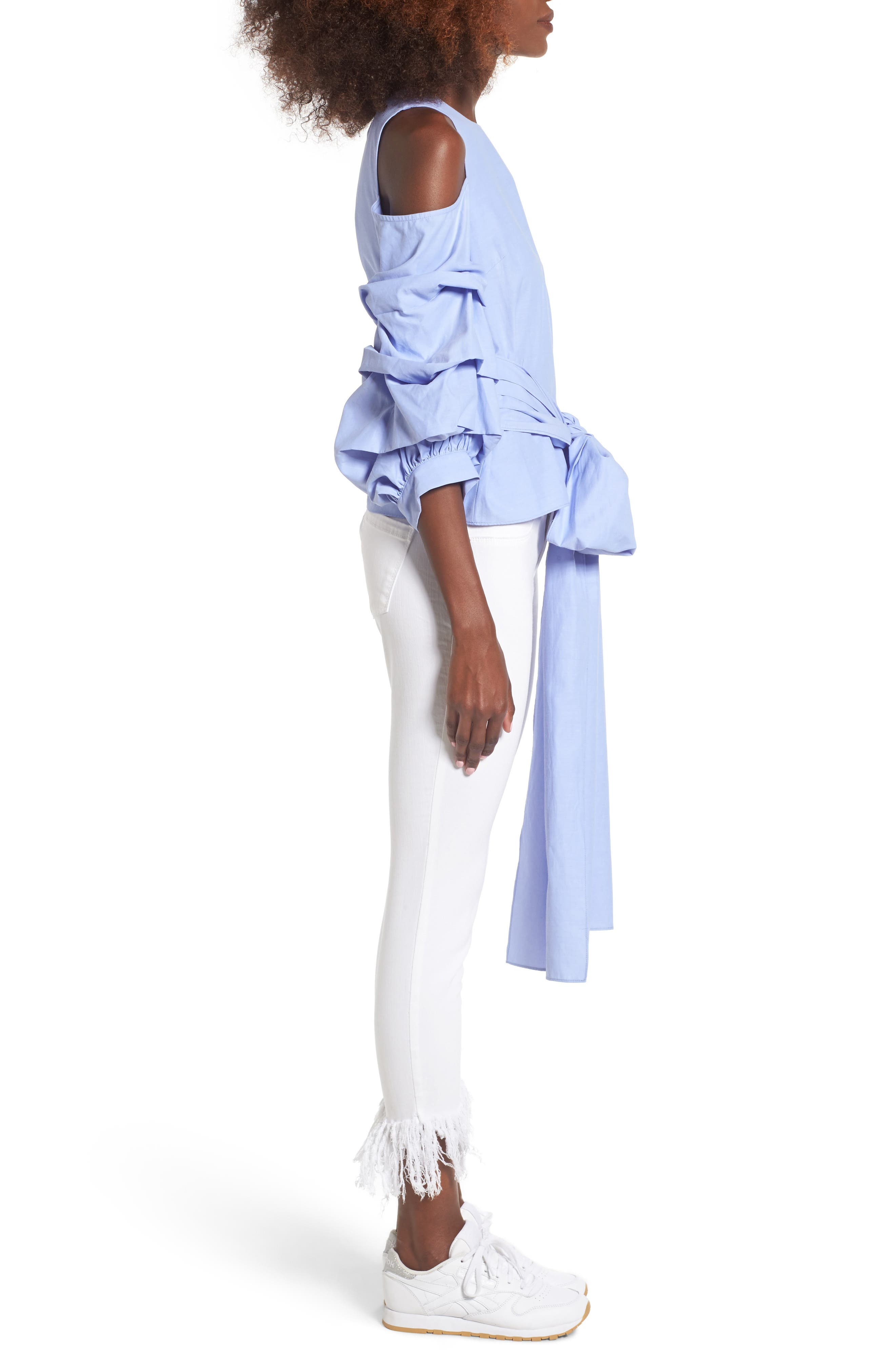 ,                             Ruffle Sleeve Tie Front Top,                             Alternate thumbnail 3, color,                             400