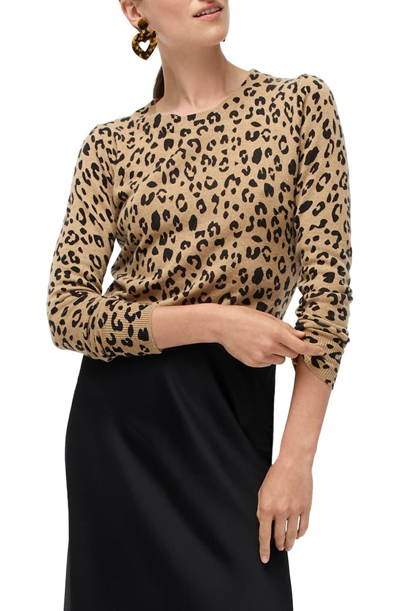 Leopard Print Long Sleeve Everyday Cashmere Crewneck Sweater
