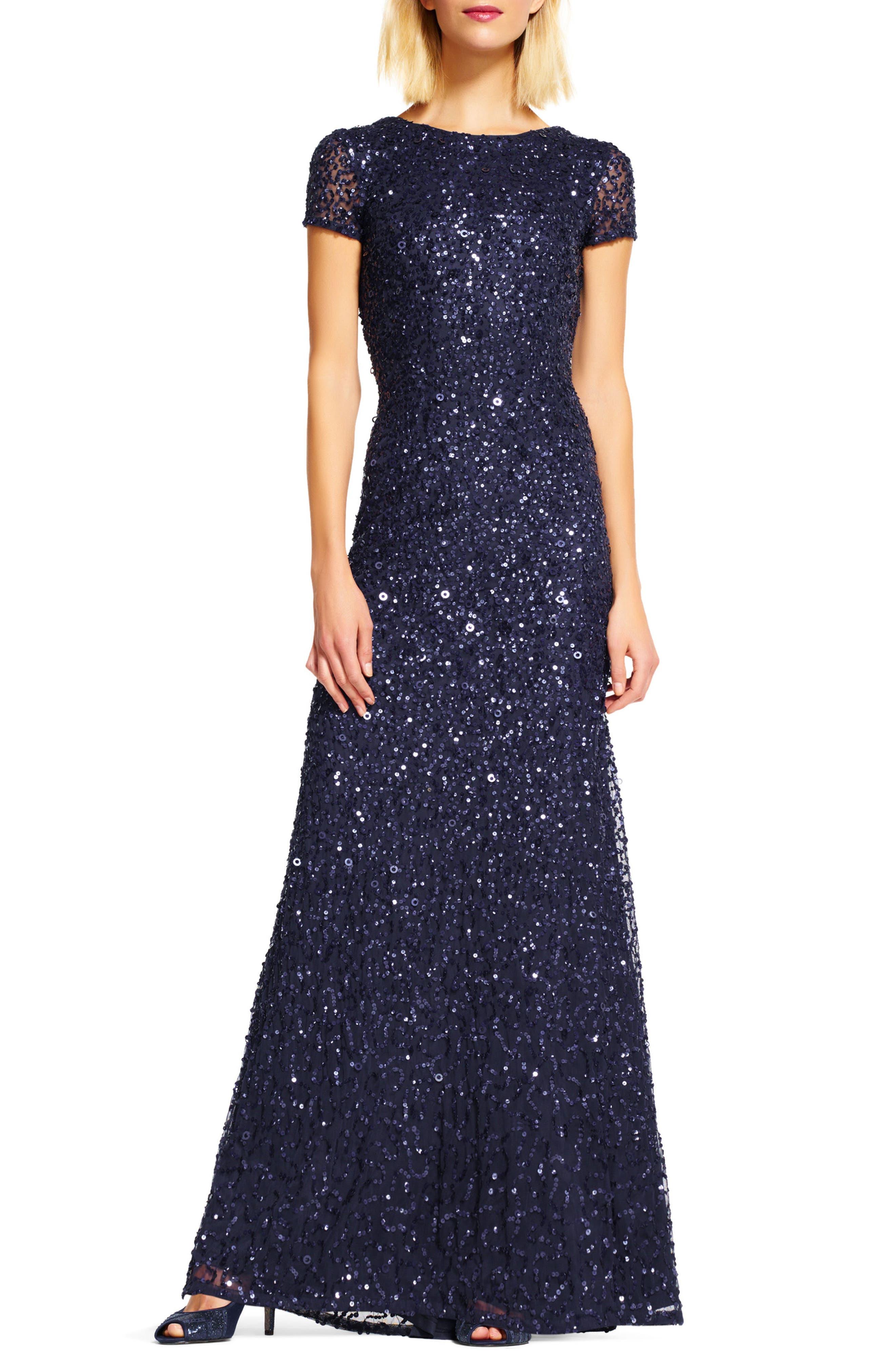 ,                             Short Sleeve Sequin Mesh Gown,                             Main thumbnail 28, color,                             412