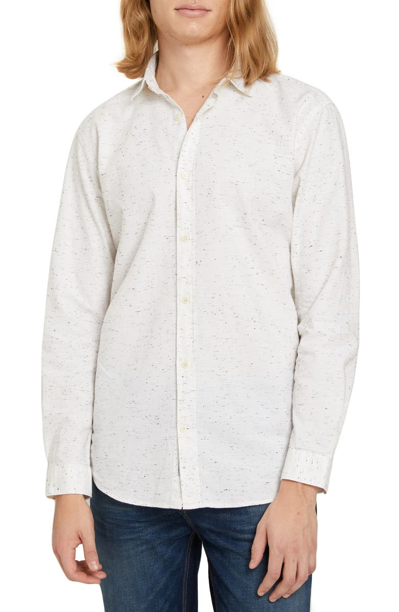 FRANK AND OAK Relaxed Fit Flannel Button-Up Shirt, Main, color, WHITE