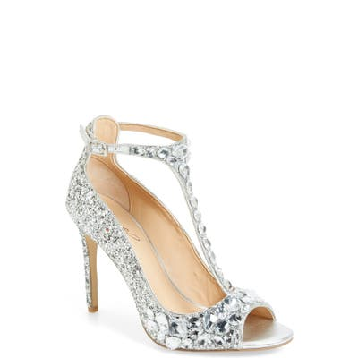 Jewel Badgley Mischka Conroy Embellished T-Strap Pump