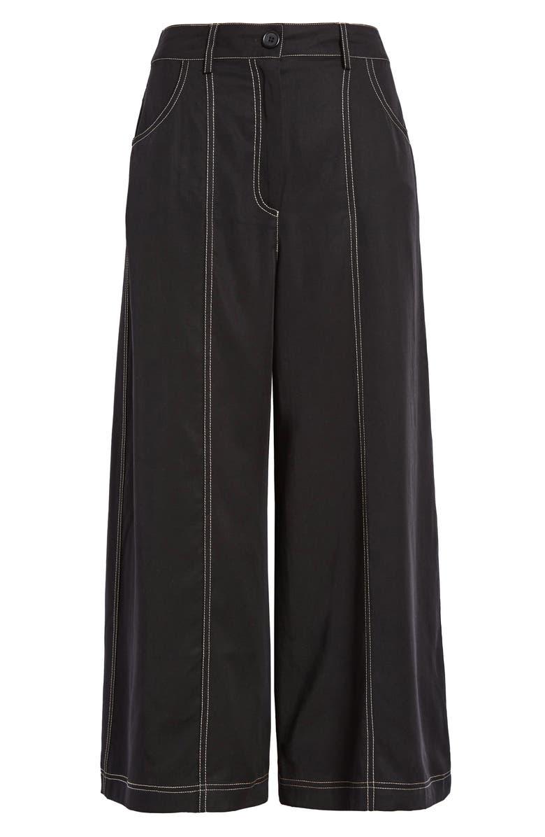 SOCIALITE Contrast Stitch High Waist Crop Wide Leg Pants, Main, color, 001
