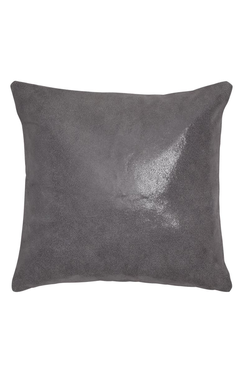 DONNA KARAN NEW YORK Moonscape Leather Accent Pillow, Main, color, CHARCOAL