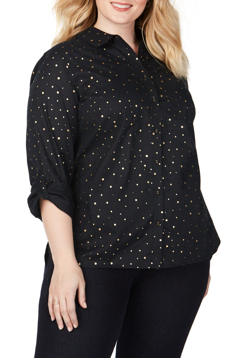 FOXCROFT Waverly Foiled Dot Shirt, Main, color, BLACK