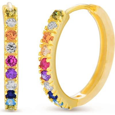 Lesa Michele Rainbow Cubic Zirconia Hoop Earrings