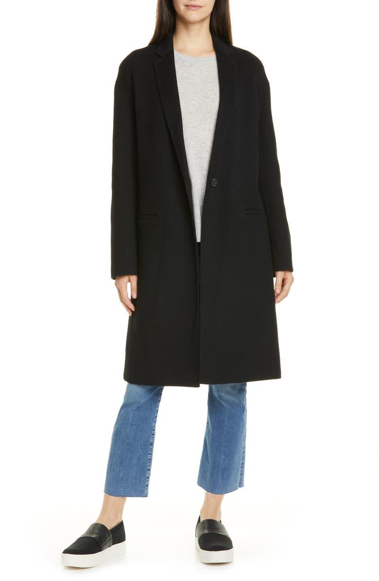 VINCE Double Face Wool Blend Coat, Main, color, BLACK