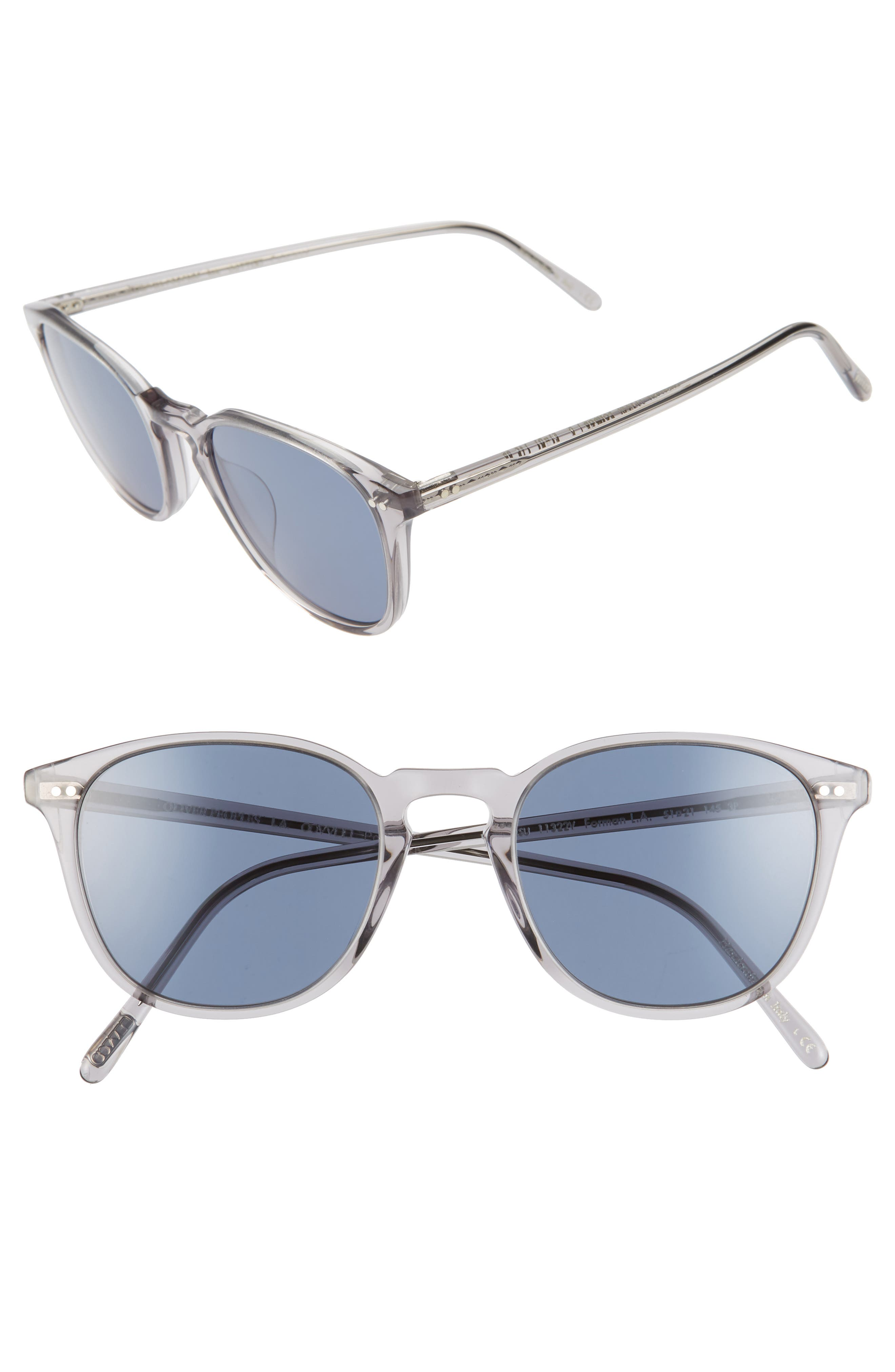 Oliver Peoples Forman L.a. 51Mm Polarized Round Sunglasses - Workman Grey/ Blue