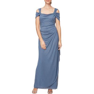 Petite Alex Evenings Cold Shoulder Chiffon Gown, Blue