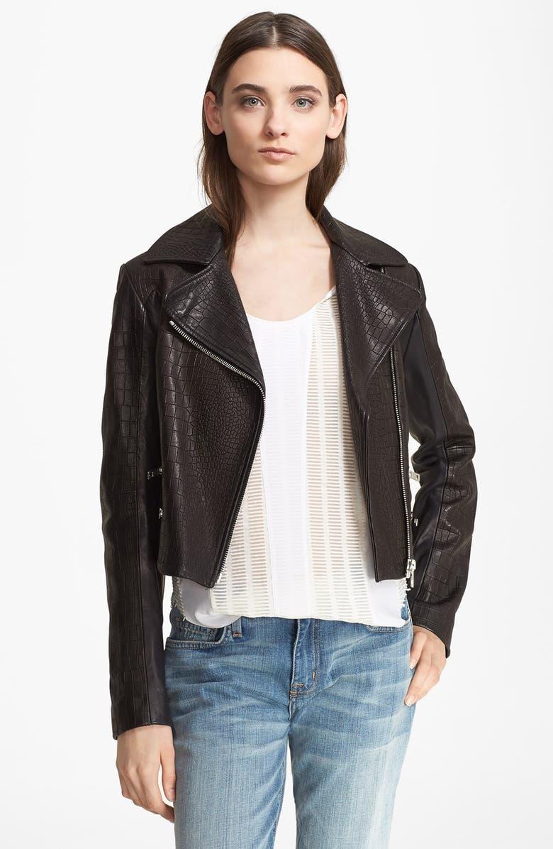 RAG & BONE Croc Embossed Leather Moto Jacket, Main, color, 001