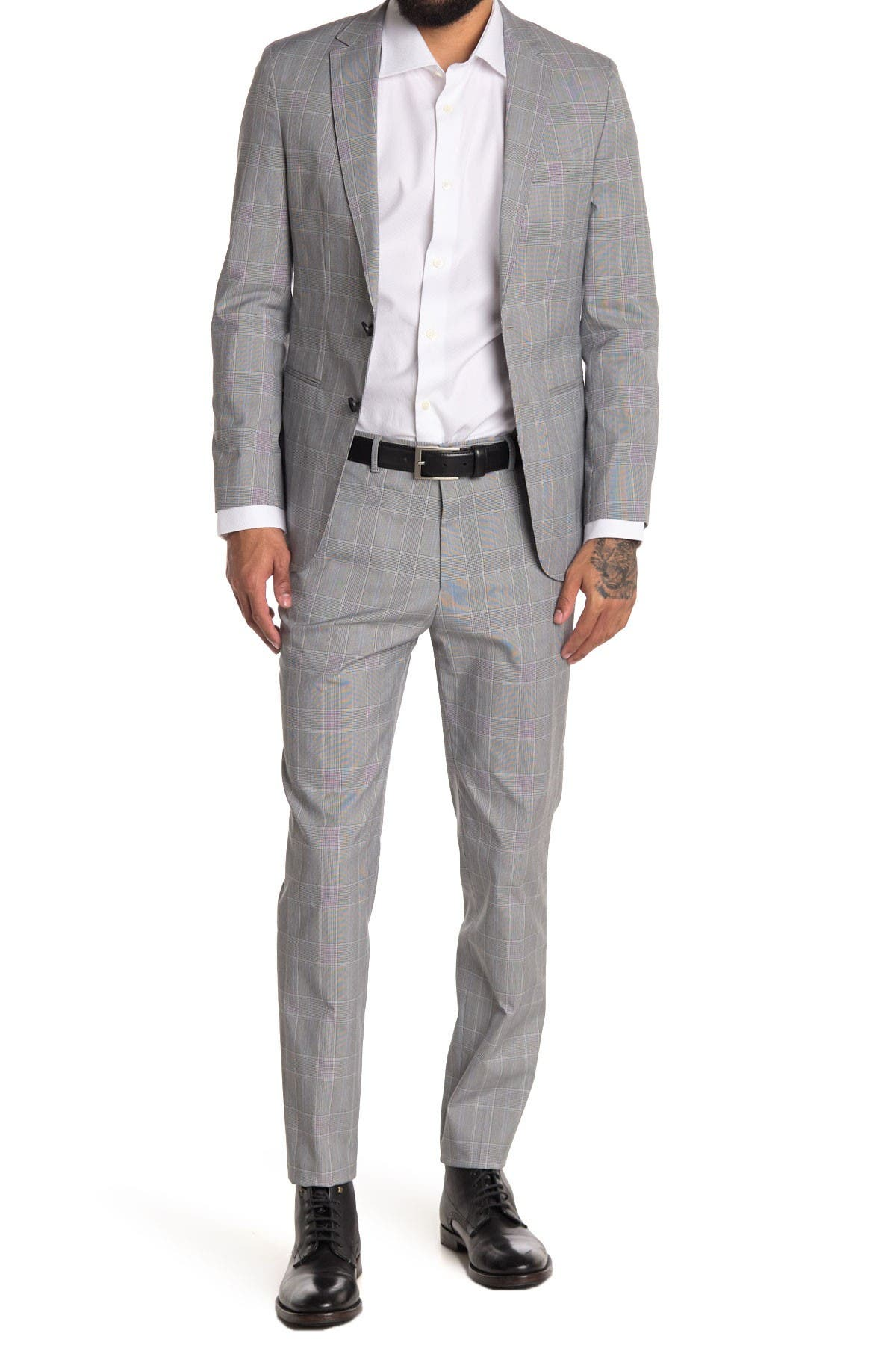 Image of BOSS Reymond Dark Blue Striped Two-Button Notch Lapel Wool Suit
