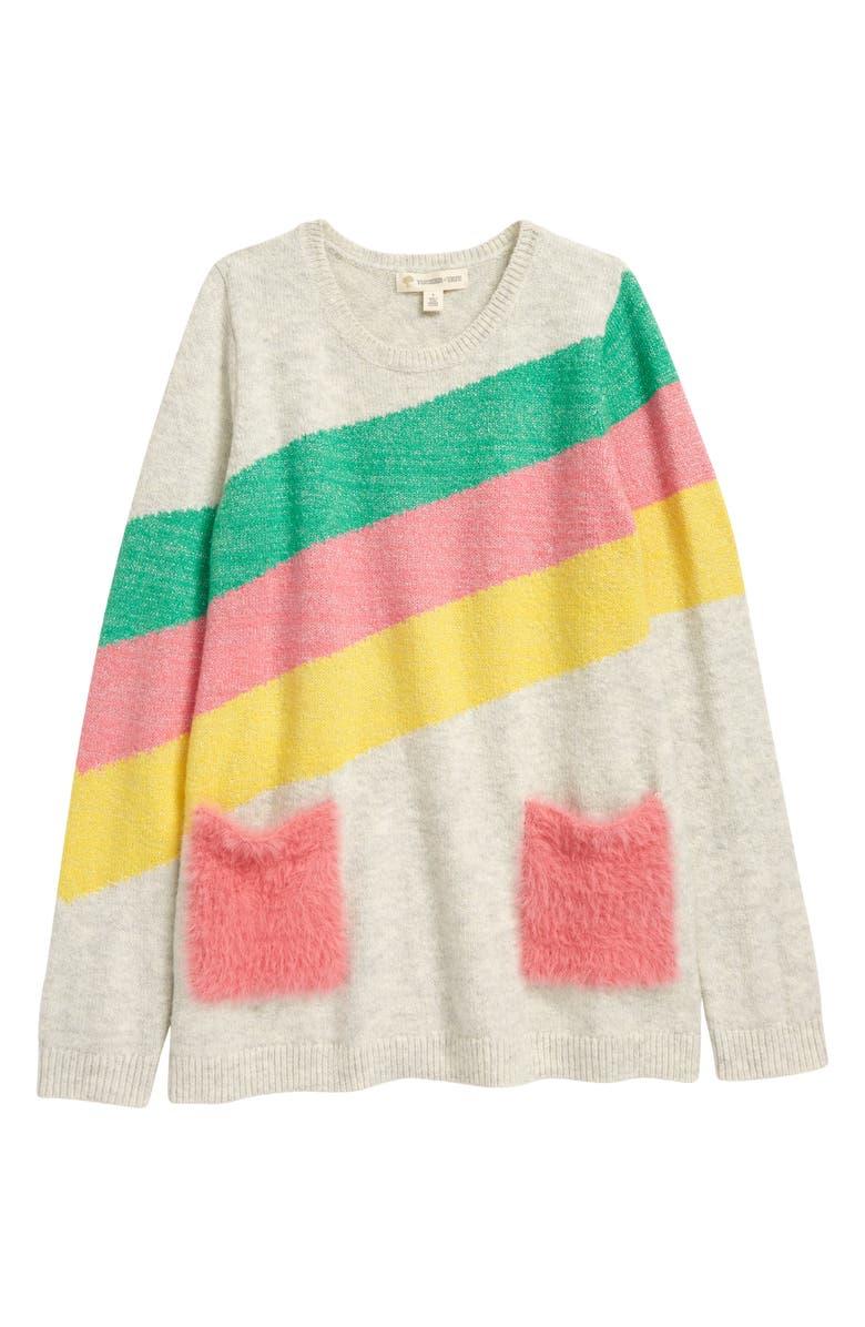 TUCKER + TATE Kids' Fun Times Jacquard Pocket Tunic Sweater, Main, color, GREY HEATHER SPARKLE STRIPE