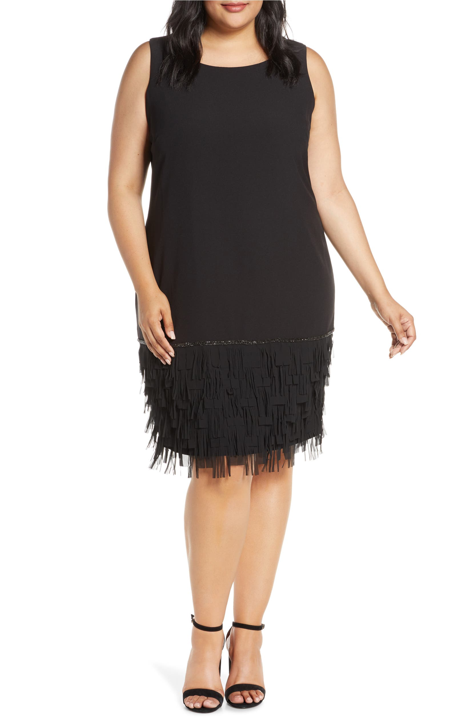 Sleeveless Fringe Hem Shift Dress