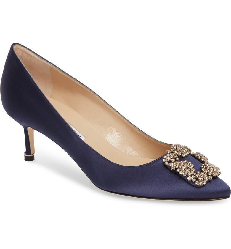 MANOLO BLAHNIK Hangisi Crystal Embellished Pointed Toe Pump, Main, color, NAVY SATIN