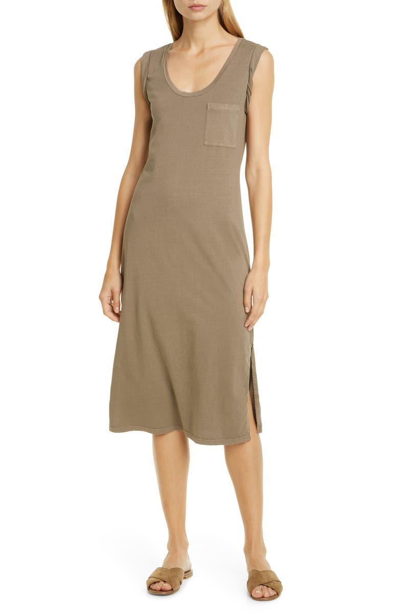 THEORY Muscle Tee Pima Cotton Tank Dress, Main, color, CARGO
