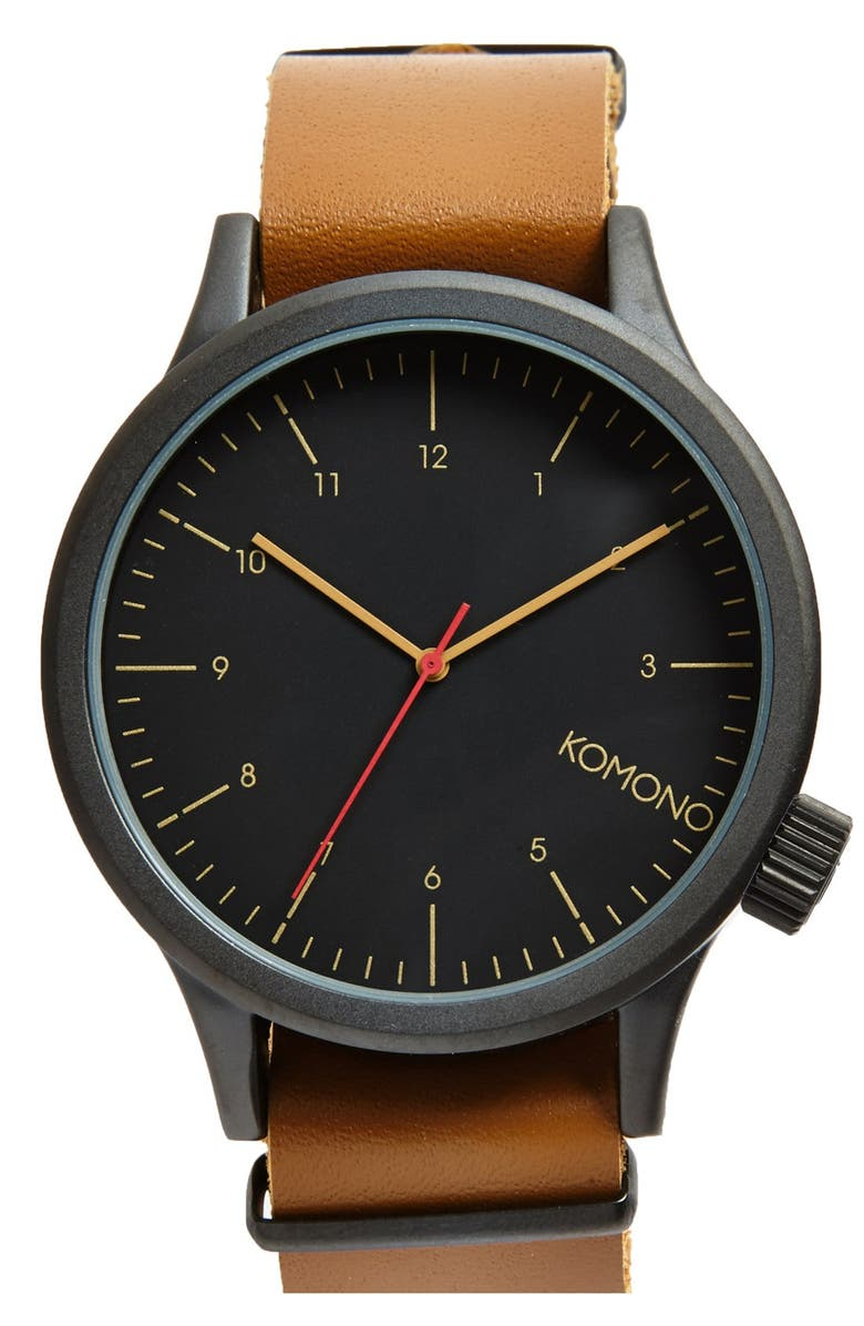 KOMONO 'Magnus' Oversized Round Dial Leather Strap Watch, 57mm, Main, color, 001