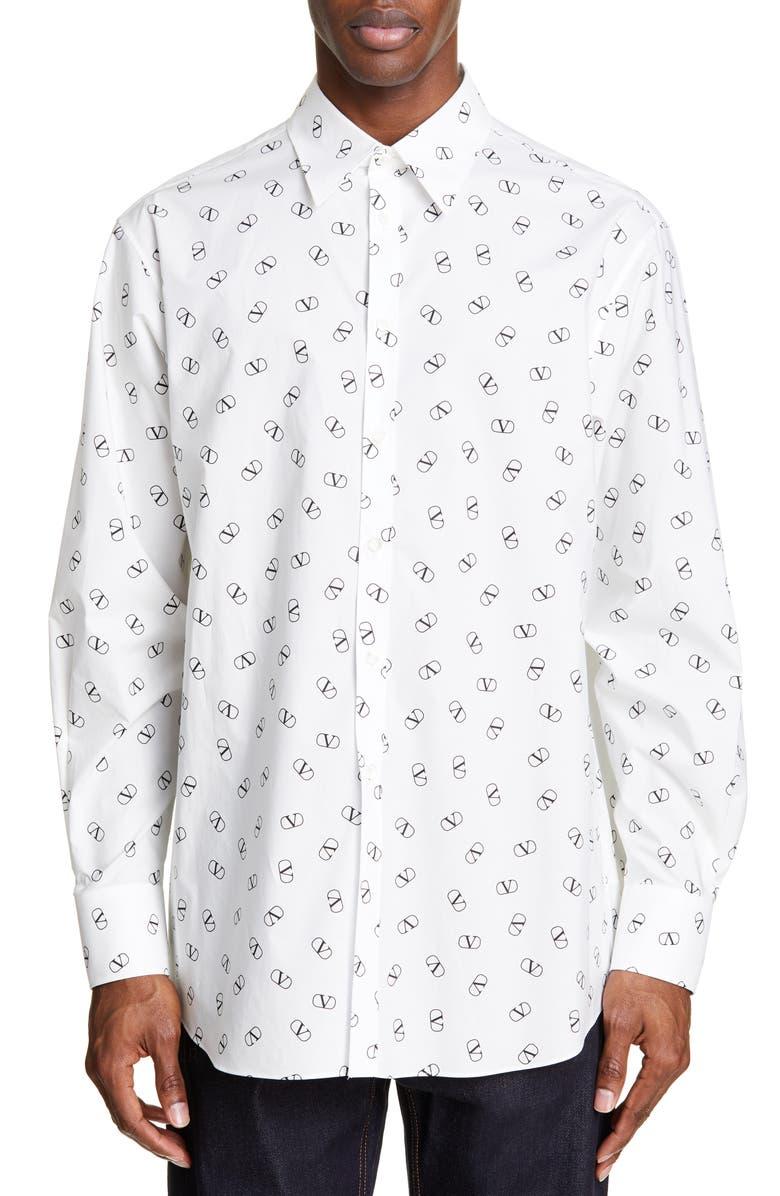 VALENTINO Logo Slim Fit Shirt, Main, color, CAMO