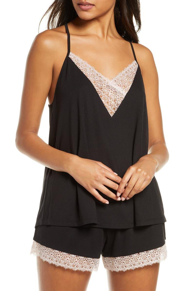 FLORA NIKROOZ Floretta Short Pajamas, Main, color, BLACK