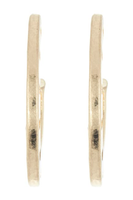 Image of AREA STARS Brushed Triangle Side Cutout Open Hoop Earrings