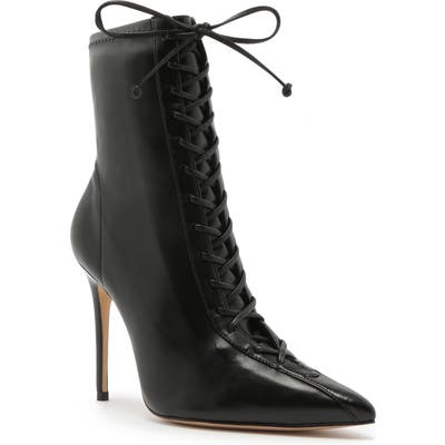 Schutz Tennie Pointed Toe Lace-Up Boot- Black