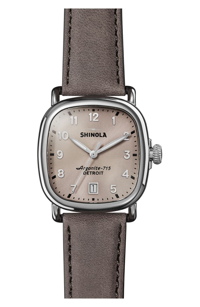 SHINOLA The Guardian Leather Strap Watch, 36mm, Main, color, GREY/ NUDE PINK/ SILVER